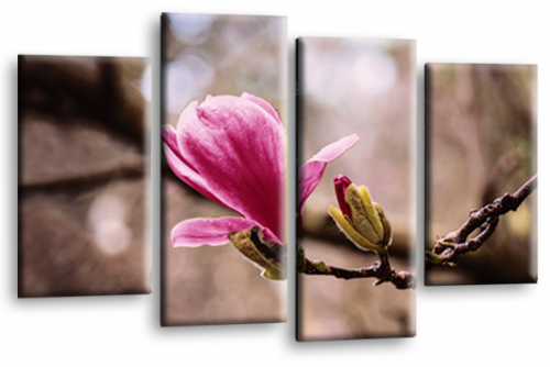 Floral Flower Wall Art Picture Grey Plum Pink Spring Print